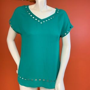 Teal Top w/ Square Cut-Outs